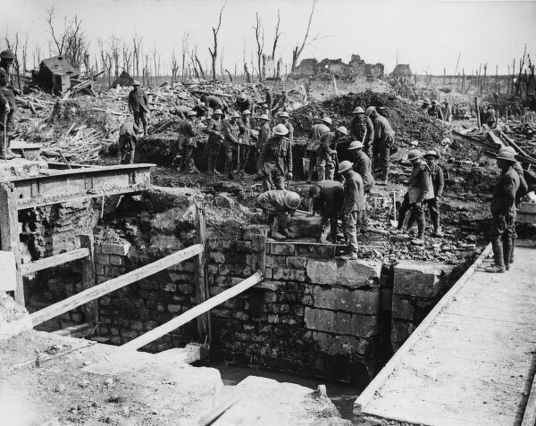 British soldiers repairing broken lock gates after the Battle of Arras on the Western Front in France during World War I in April 1917