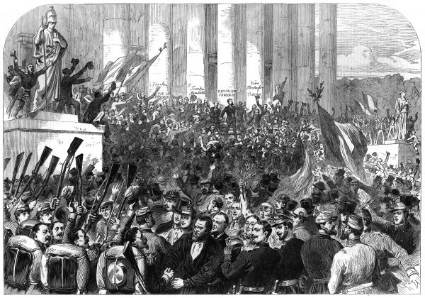 Gambetta proclaims the Third Republic at the palais du Corps Legislatif, Paris : it is unpopular with pretty well everyone, but ensures a measure of stability. Date: 4 September 1870