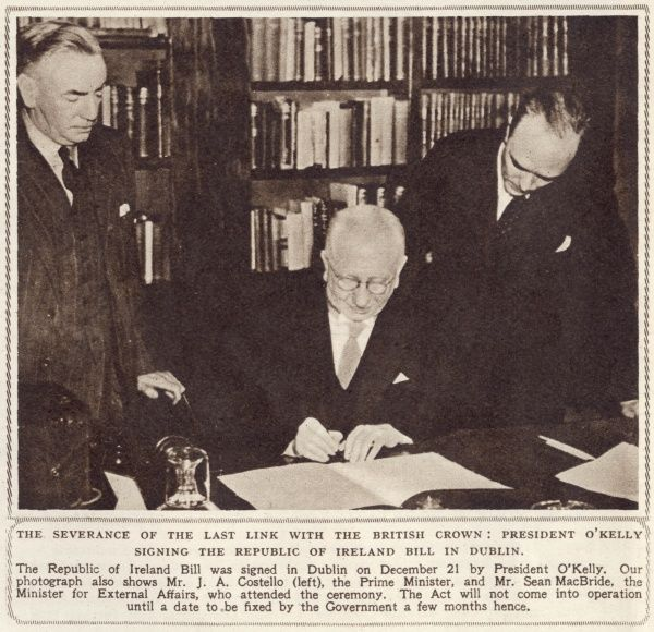 The severance of the last link with the British Crown: President O'Kelly signing the Republic of Ireland Bill in Dublin on 21st December, 1948