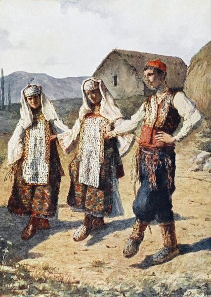 Republic of Kosovo - Traditional costume and dancing in the countryside