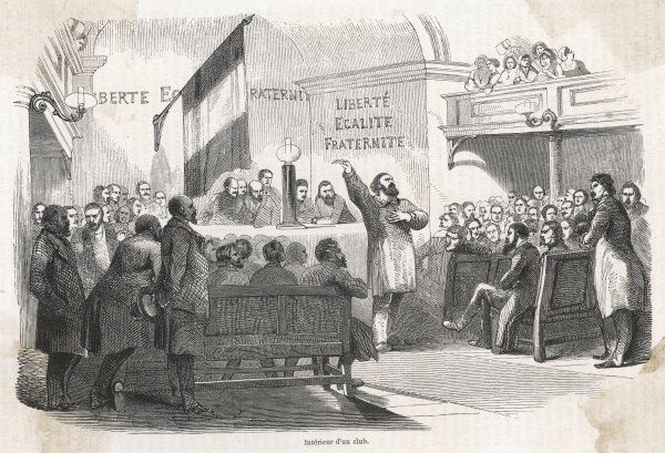 Meeting in a Republican club - an orator rouses his hearers to initiate the revolution
