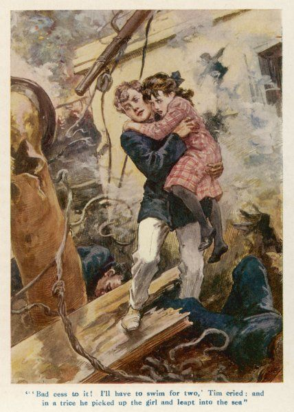 A child is rescued aboard a passenger ship torpedoed by a U-boat - an episode from an adventure yarn published in 1917 based on authentic naval operations