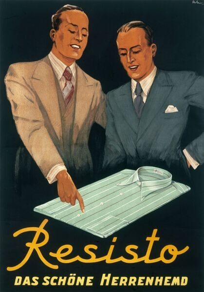 Advertising poster for Resisto mens' tailored shirts which two dapper chaps admiring the craftsmanship and fine finishing in a blue, striped Resisto shirt