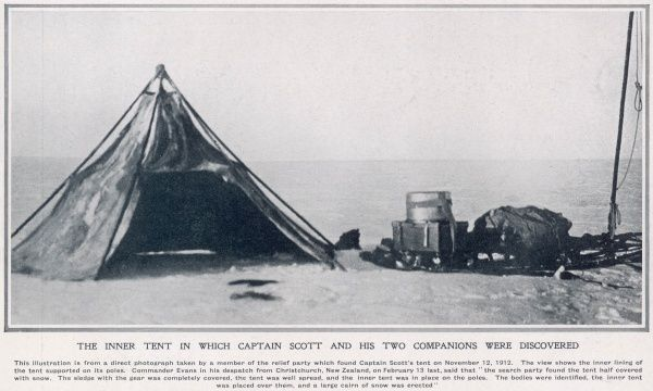 The inner tent in which Captain Scott and his two companions were discovered taken by a member of the relief party which found the tent on November 12th 1912. The view shows the inner lining of the tent supported on its poles
