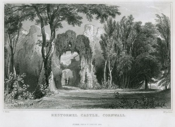 The ruins of Restormel Castle, Cornwall. Date: 1812