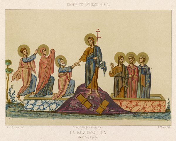 A medieval representation of the Resurrection - Jesus bids farewell to his apostles
