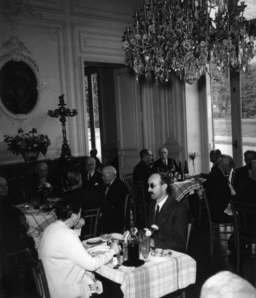 The restaurant of the home for retired Legionnaires, France. Date: 1930s