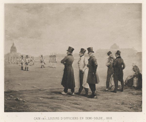 After the Napoleonic wars, unemployed French soldiers watch troops drilling and exchange reminiscences about the glorious past