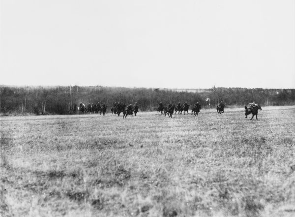Bavarian cavalry retreating during the rearguard actions near Chauny which the French took on the 19th March 1917 during World War I