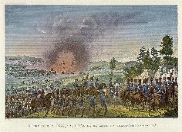 After their defeat at Leipzig, the French are compelled to retreat to the west