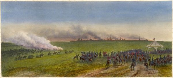 Napoleon finally orders his troops to evacuate MOSCOW, where fires have been blazing for weeks, destroying three- quarters of the city