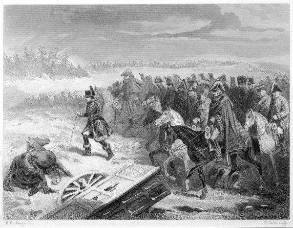 During the retreat from Moscow, Napoleon stretches his legs, leading the Garde Imperiale on foot