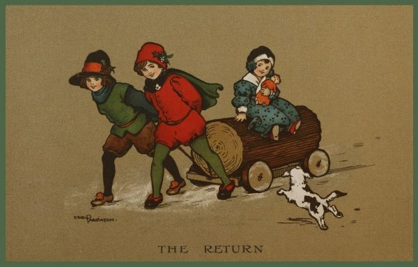 The Return -- three children bring a large log home with them, to the delight of their little dog. Two girls are pulling the log along, while a smaller girl sits on the log, cradling her doll