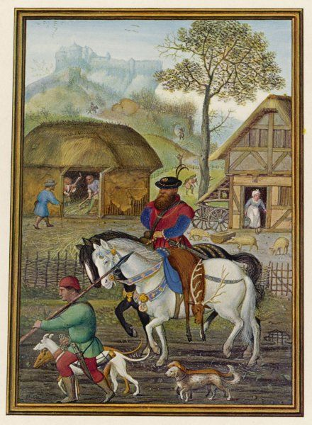 'The return from the hunt' - a Flemish huntsman, with his servant, two hounds and two smaller dogs, brings back a stag, borne on the second horse