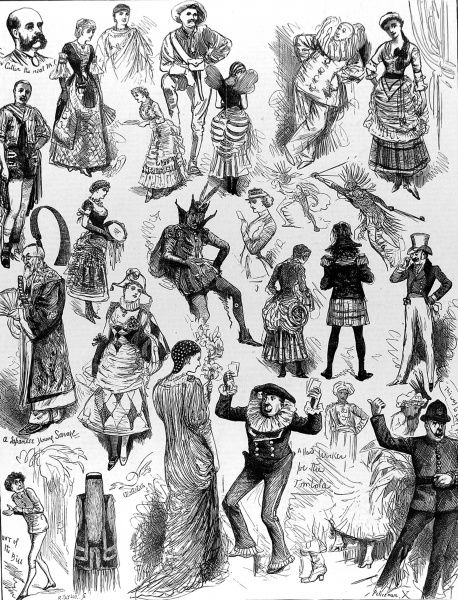 Engraving showing a number of the Savage Club members in fancy dress at their club's summer ball at the Royal Albert Hall, London, 1883