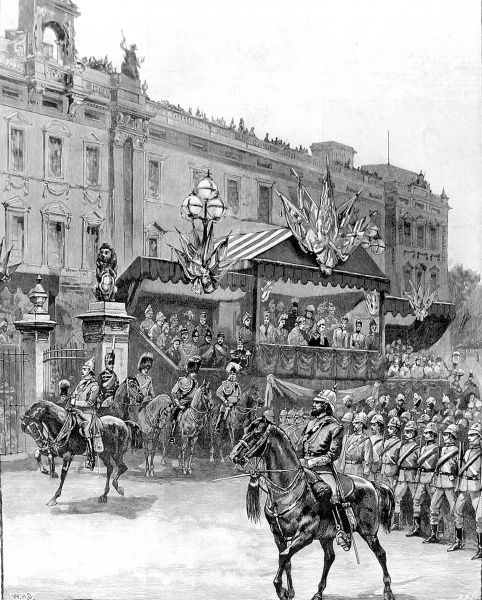 Engraving showing the Artist's Volunteer Corps marching past the Royal enclosure, outside Buckingham Palace, London, 1887