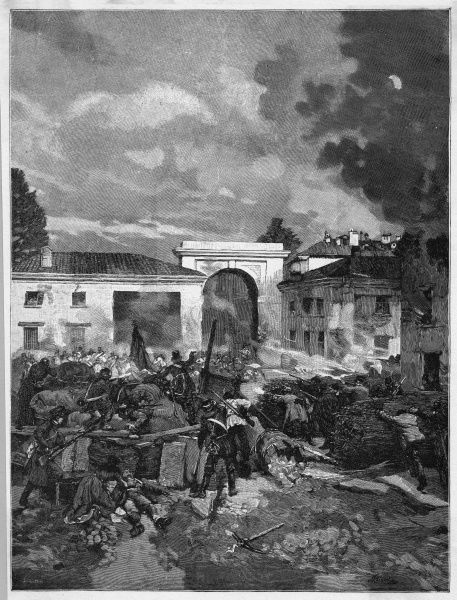 The 'Quinta Giornata' - the five-day uprising in Milano - involves serious street fighting : this is the scene at the barricades erected at the Porta Tosa