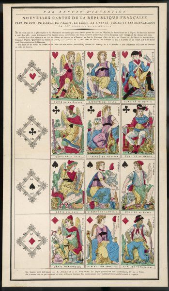 Playing cards of the Revolution by Jaume and DuCourc