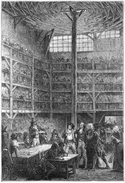 The Revolutionary Tribunal in the Abbaye prison, Paris, is a popular attraction : what fun, to see people sentenced to the guillotine !
