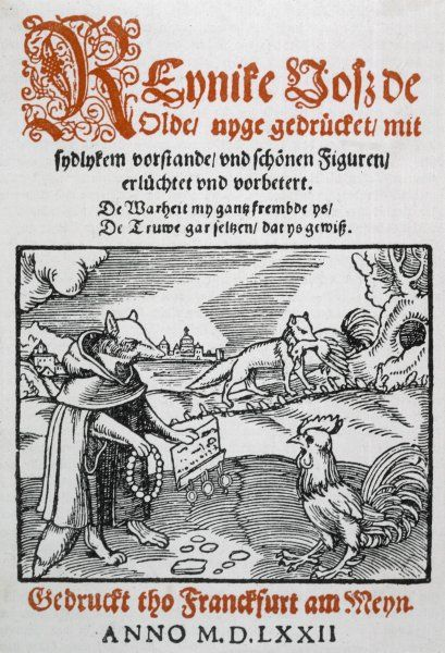 Reynard the Fox, also known as Reynke de Vos and Reineke Fuchs, playing a trick on an unsuspecting cockerel