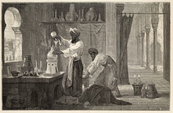 Abu Bakr Muhammad ibn Zakariya RAZI, known as RHAZES in the west : Persian physician and chemist, leader of Islamic medicine, here depicted in his laboratory at Baghdad