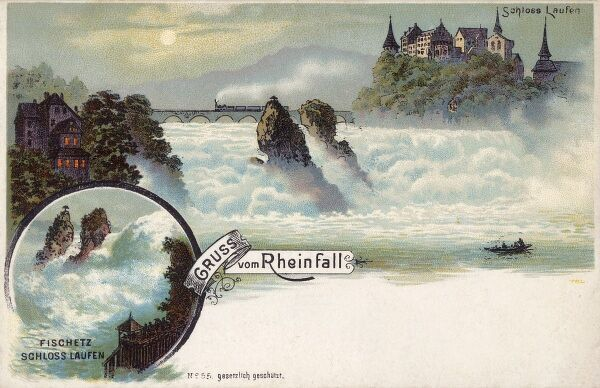 The Rhine Falls (Rheinfall), Switzerland with Laufen Castle - the largest plain waterfalls in Europe. Date: 1897