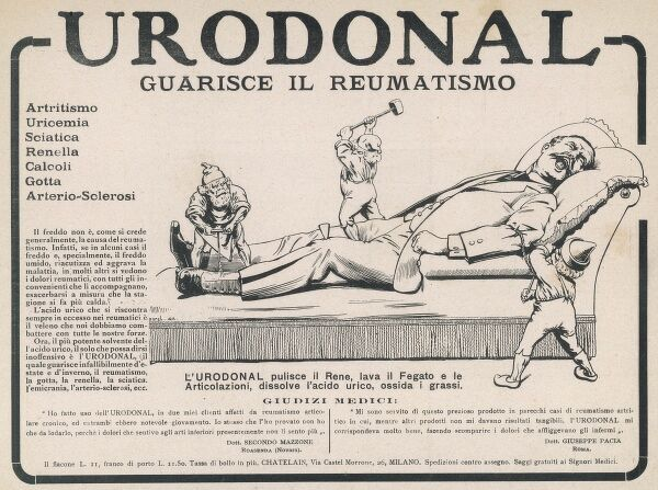 Advertisement for Urodonal rheumatism treatment showing a man in excruciating pain as his joints are attacked by three little dwarves or gnomes
