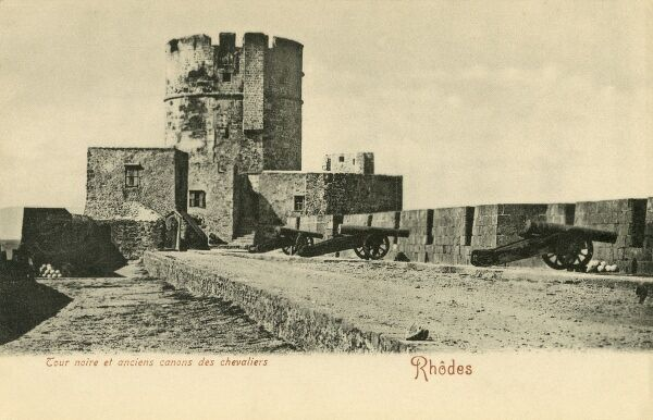 Rhodes, Greece - Black Tower and Cannon of the Knights Hospitaller (Knights of Rhodes / Knights of Malta) Date: circa 1903