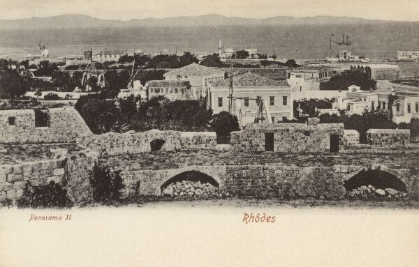 View of the Town of Rhodes from the fortress battlements of the Palace of the Grand Master, defences erected by the Knights Hospitaller of St John of Rhodes and Malta Date: circa 1903