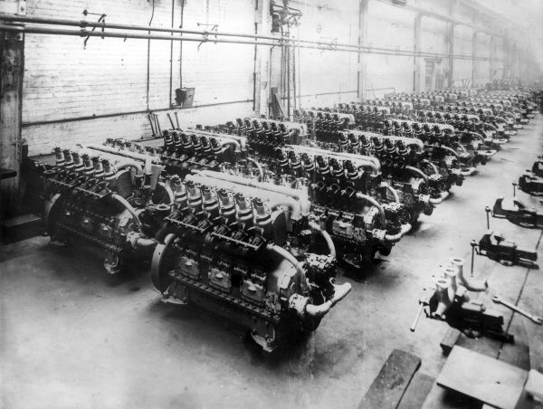 Rows of 300 horsepower Ricardo tank engines in a workshop of Crossley Bros, Manchester, during the First World War. Date: 1914-1918