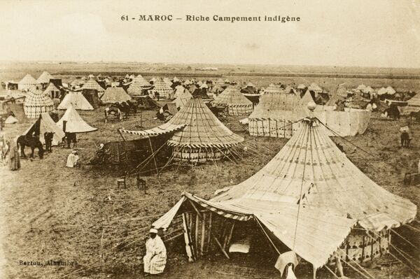 Rich Indigenous encampment with elaborate round tents in Morocco