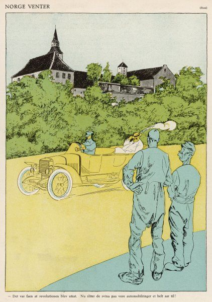 Two workmen watch as a rich man drives past in his chauffeur-driven automobile, symbol of luxury at the time