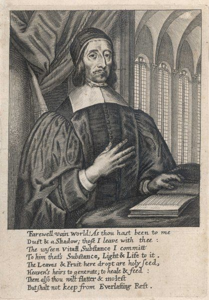 RICHARD BAXTER English puritan clergyman and writer, depicted reading in a church setting Date: 1615 - 1691