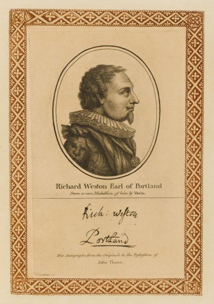 RICHARD WESTON, earl of PORTLAND - statesman, but a braggart and a coward by all accounts with his autograph