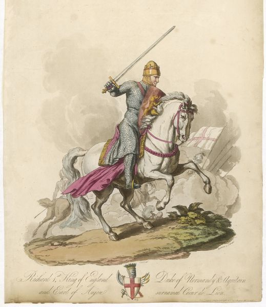 RICHARD I, THE LIONHEART Depicted riding into battle, broadsword in hand, armoured from head to foot. His shield bears three lions passant, the English Kings' royal symbol