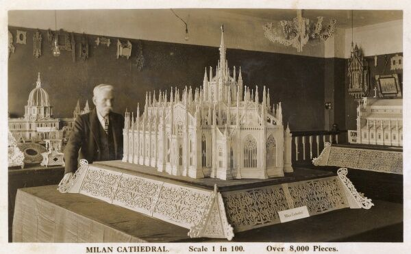 A scale model of Milan Cathedral, Italy, made up of over 8000 pieces by model maker Richard Old. This was the crowning glory of his Richold Collection Date: 1932