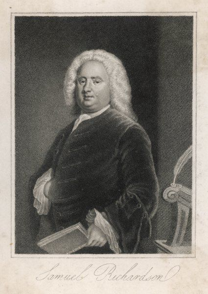 SAMUEL RICHARDSON English novelist and printer, seen with a book in his hand
