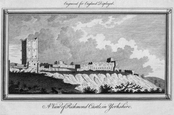General view of the castle at Richmond, Swaledale, Yorkshire. Date: circa 1750