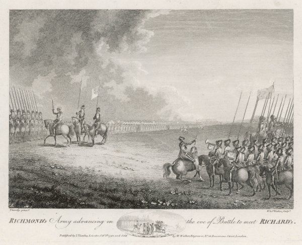 Richmond's army advancing on the eve of Bosworth to meet Richard