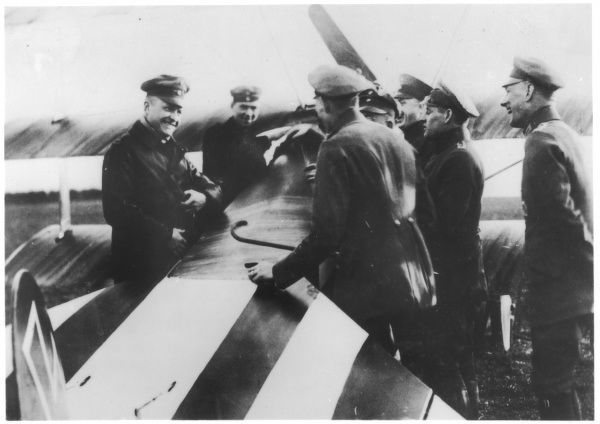 Captain Baron von Richthofen, German flying ace, responsible for bringing down 80 Allied planes during World War One, pictured here with members of Jagdstaffel 5 around a Fokker plane after his 62nd victory on November 23rd 1917. Richthofen