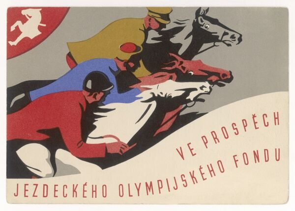 Czech postcard, probably sold to raise funds for the Czech equestrian team in the Olympics