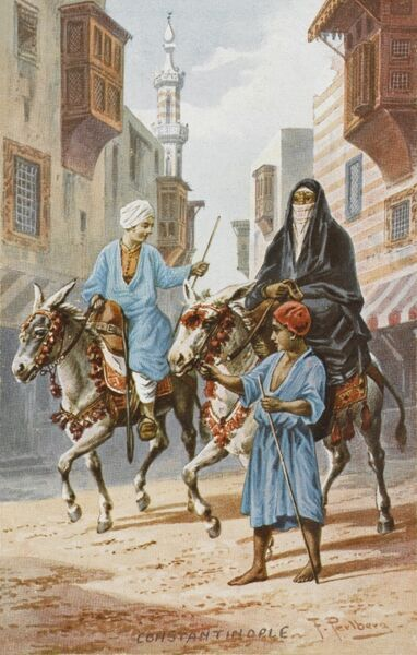 A husband and wife ride through Constantinople on a pair of donkeys, with the ladies' steed being led by a young servant