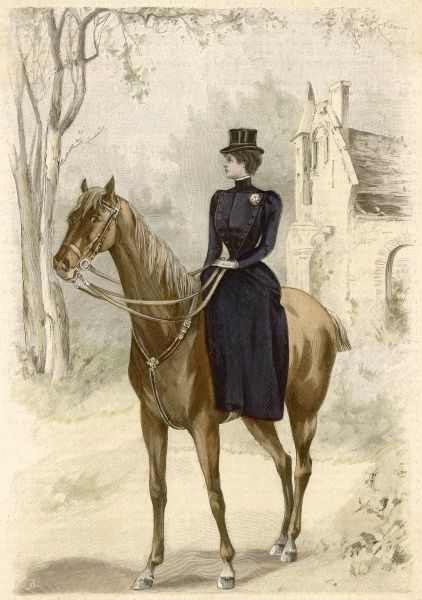 This lady rider, riding side- saddle, is wearing a 'costume d'Amazone' in the English genre