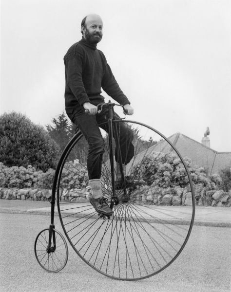Riding a Penny Farthing bicycle