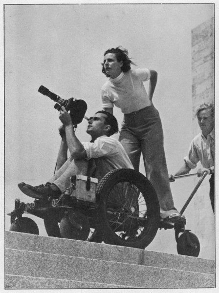 'OLYMPISCHESPIELE' Leni Riefenstahl directs cameraman Walter Frentz during the filming of the Berlin Olympics, arguably the finest film of sport ever made