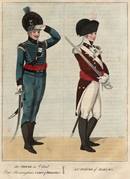 A Rifleman Officer in Colonel Coote Manningham's Corps of Riflemen (left), and an Officer of Marines (right). Both are carrying swords