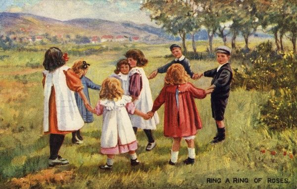 Ring a Ring of Roses. Artist Anon. Children playing the traditional game in the country Date: 1911