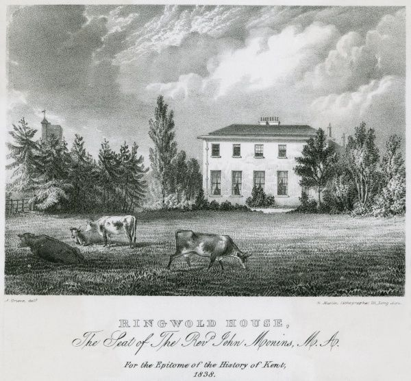 Cattle graze in the grounds of Ringwold House, Kent, the residence of the Reverend John Monins Date: 1838