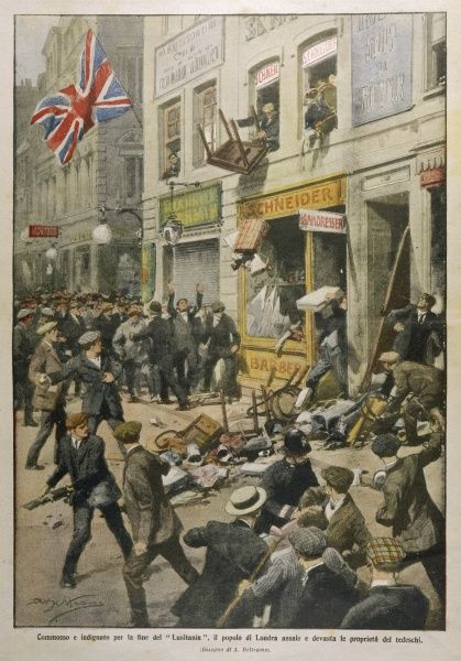 The sinking of the 'Lusitania' sparks off attacks on German shops in London