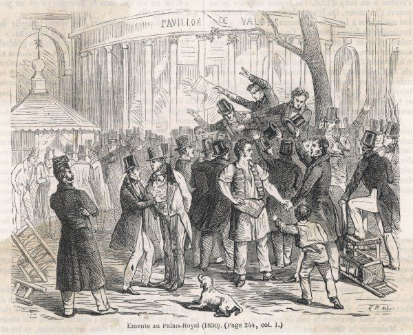 Supporters and opponents of the Orleans monarchy come to blows in the Palais Royal, Paris